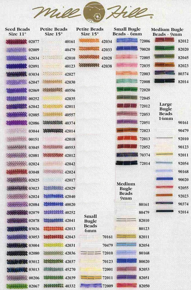 Kreinik to DMC Conversion Chart http://mystitchworld.com/Mill-Hill-Beads-Chart.asp