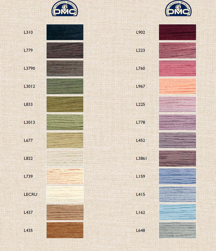 DMC Linen Color Chart