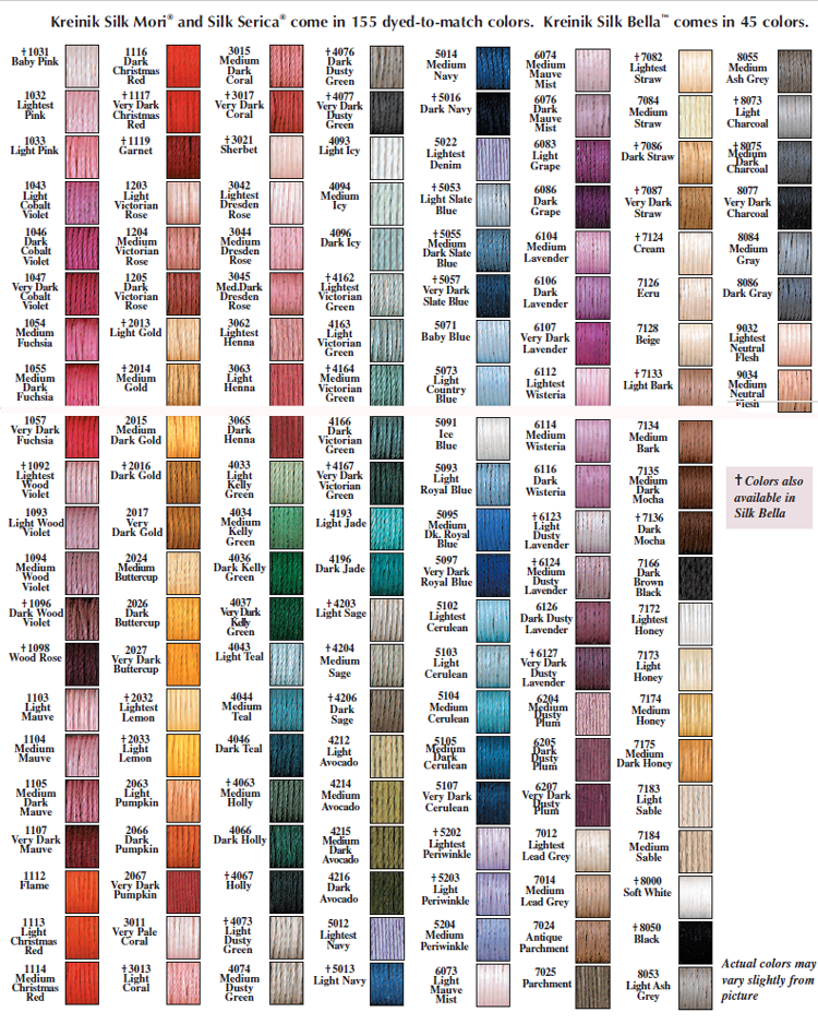 Kreinik Silk Color Chart