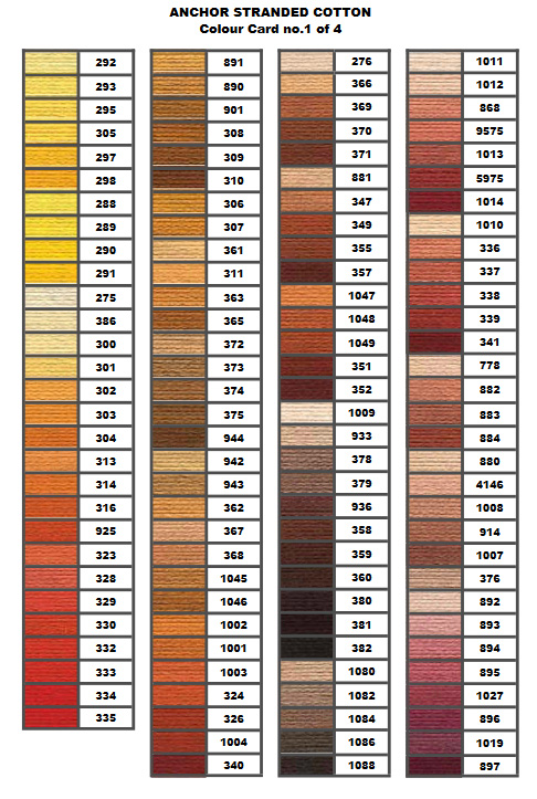 Anchor Stranded Color Chart 1