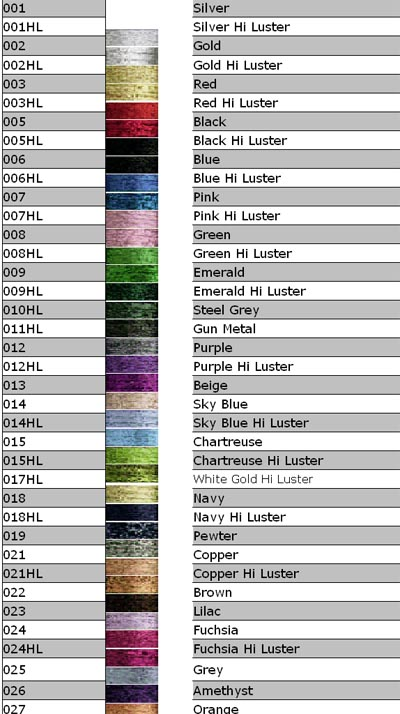 Kreinik to DMC Conversion Chart http://mystitchworld.com/Kreinik-Colors.asp