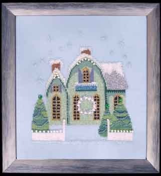 Little Snowy Green Cottage - Cross Stitch Pattern