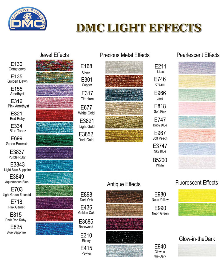 Dmc Light Effects Color Card
